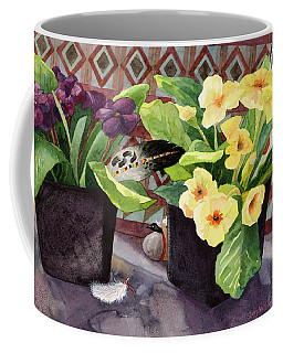 Flowers And Eagle Feathers Coffee Mug by Lynda Hoffman-Snodgrass