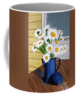 Coffee Mug featuring the painting Flowers In A Teapot by Laura Forde