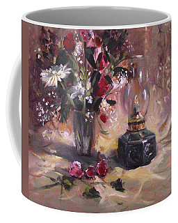 Coffee Mug featuring the painting Flowers With Lantern by Nancy Griswold
