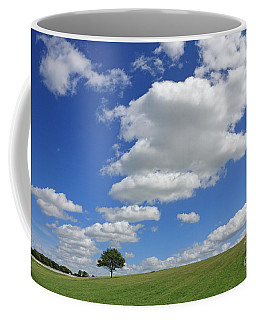 Fluffy Clouds Over Epsom Downs Surrey Coffee Mug
