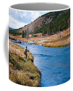Coffee Mug featuring the photograph Fly Fishing In Yellowstone  by Lars Lentz