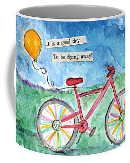 Flying Away- Bicycle And Balloon Painting Coffee Mug