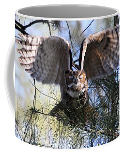 Flying Blind - Great Horned Owl Coffee Mug