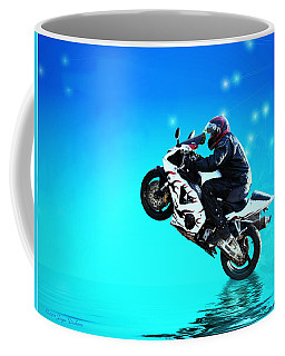Coffee Mug featuring the photograph Flying Low One More Time On Two Wheels by Joyce Dickens