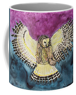 Coffee Mug featuring the painting Flying Owl by Jeanne Fischer