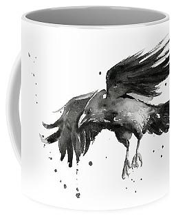 Flying Raven Watercolor Coffee Mug