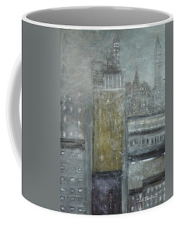 Fog Covered City Coffee Mug by Dick Bourgault