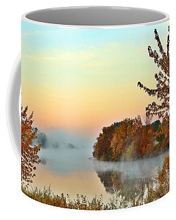 Coffee Mug featuring the photograph Fog On The River by Lynn Hopwood