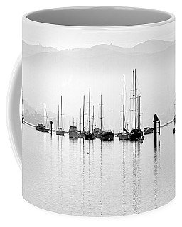 Fog Settles On Morro Bay Coffee Mug by AJ  Schibig