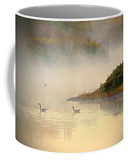 Foggy Autumn Swim Coffee Mug by Elizabeth Winter