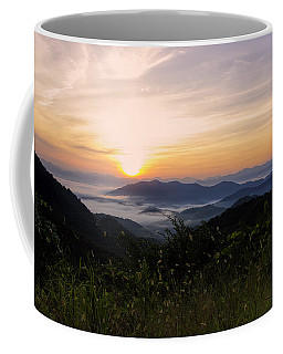 Foggy Blue Ridge Mountain Sunrise Coffee Mug