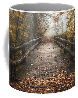Foggy Lake Park Footbridge Coffee Mug