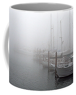 Foggy Morning In Charleston Harbor Coffee Mug by AJ  Schibig