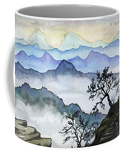 Foggy Mountaines Sunset View  Coffee Mug