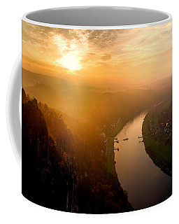 Foggy Sunrise At The Elbe Coffee Mug