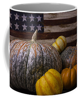 Folk Art Flag And Pumpkins Coffee Mug