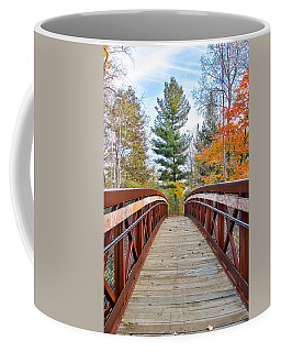 Coffee Mug featuring the photograph Foot Bridge In Fall by Lars Lentz