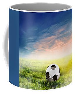Football Soccer Ball On Green Grass Coffee Mug