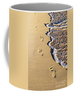 Footprints On Beach Coffee Mug