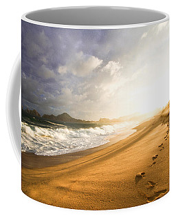 Coffee Mug featuring the photograph Footsteps In The Sand by Eti Reid