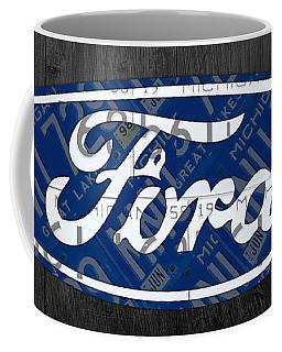 Ford Motor Company Retro Logo License Plate Art Coffee Mug