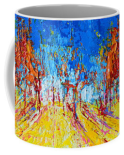 Coffee Mug featuring the painting Tree Forest 1 Modern Impressionist Landscape Painting Palette Knife Work by Patricia Awapara