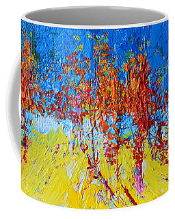 Coffee Mug featuring the painting Tree Forest 2 Modern Impressionist Landscape Painting Palette Knife Work by Patricia Awapara