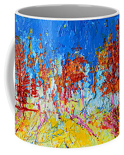 Coffee Mug featuring the painting Tree Forest 3 Modern Impressionist Landscape Painting Palette Knife Work by Patricia Awapara