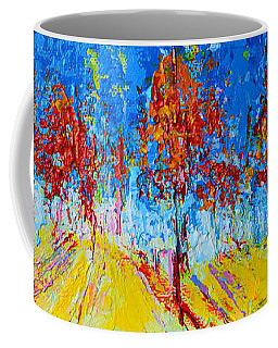 Coffee Mug featuring the painting Tree Forest 4 Modern Impressionist Landscape Painting Palette Knife Work by Patricia Awapara