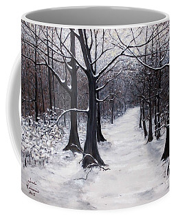 Forest Path In Winter Coffee Mug by Judy Kirouac