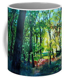 Coffee Mug featuring the painting Forest Scene 1 by Kathy Braud