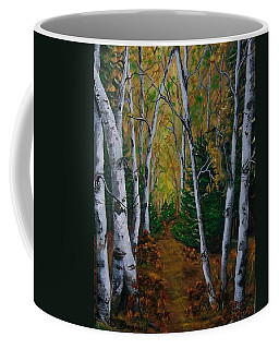 Birch Tree Forest Trail  Coffee Mug