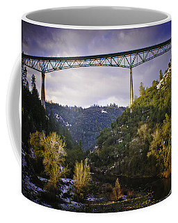 Coffee Mug featuring the photograph Foresthill Bridge In The Snow by Sherri Meyer