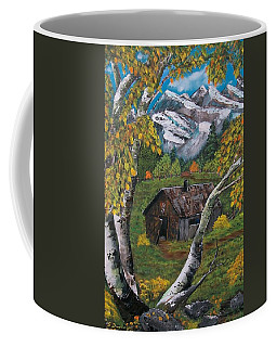Coffee Mug featuring the painting Forgotten Cabin  by Sharon Duguay