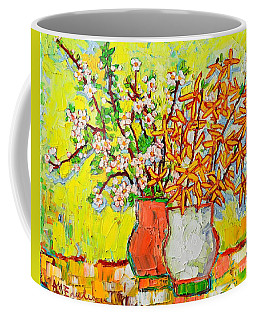 Forsythia And Cherry Blossoms Spring Flowers Coffee Mug