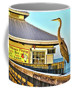 Fort Myers Beach Bird On Pier Coffee Mug