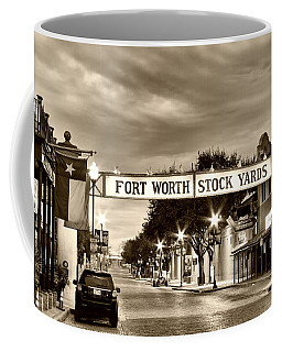 Fort Worth Stock Yards In Sepia Coffee Mug