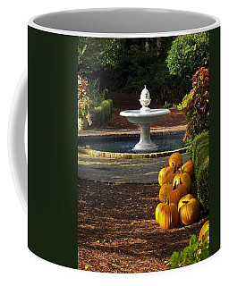Coffee Mug featuring the photograph Fountain And Pumpkins At The Elizabethan Gardens by Greg Reed