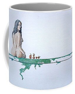 Coffee Mug featuring the painting Four Bitten Fruit by A  Robert Malcom