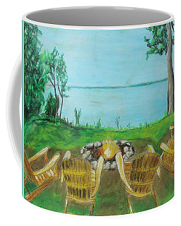 Coffee Mug featuring the painting Four Chairs by Jeanne Fischer