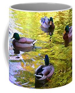 Four Ducks On Pond Coffee Mug
