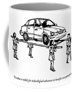 Four Roman Servants Carry A Car On A Canopy Like Coffee Mug