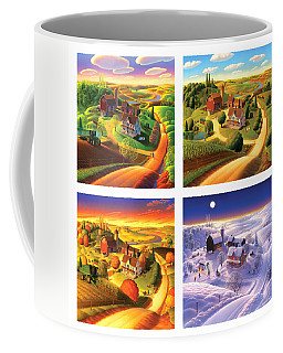 Four Seasons On The Farm Squared Coffee Mug