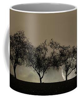Four Trees And A Moon Coffee Mug by Ann Bridges