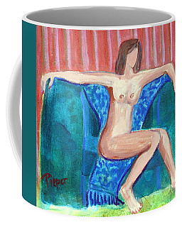 Dare To Be Bare In A Big Green Chair Coffee Mug by Betty Pieper