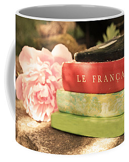 Coffee Mug featuring the photograph French Books And Peony by Brooke T Ryan