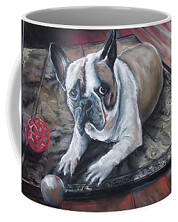 Coffee Mug featuring the pastel french Bull dog by Peter Suhocke
