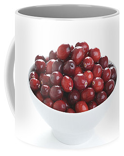 Coffee Mug featuring the photograph Fresh Cranberries In A White Bowl by Lee Avison