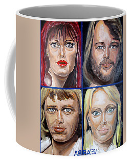 Coffee Mug featuring the painting Frida Benny Bjorn Agnetha by Daniel Janda