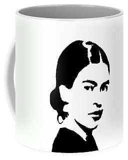 Coffee Mug featuring the mixed media Frida Black And White by Michelle Dallocchio